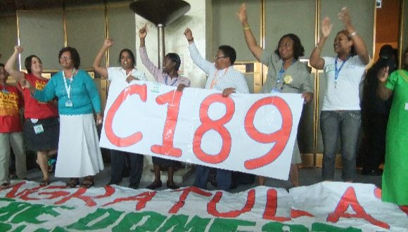 Domestic workers demonstrate at the ILC
