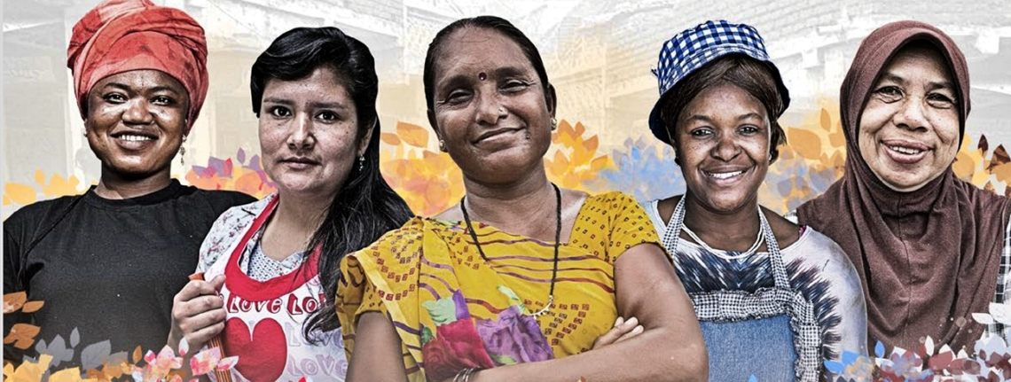 illustration of five informal economy workers, all women