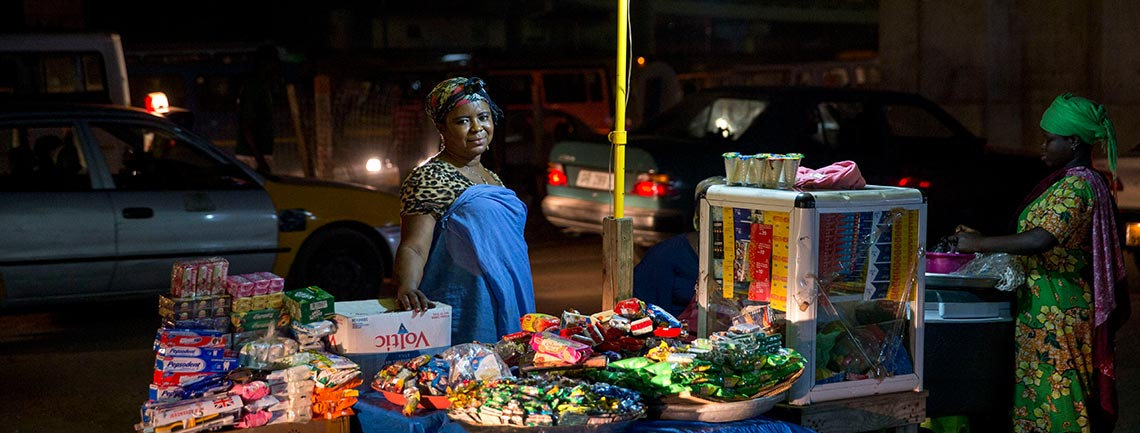 Informal worker Iris Lamiorkor runs a snack stand at Kwame Nkrumah Circle Market. Unlike other vendors who sell during the day