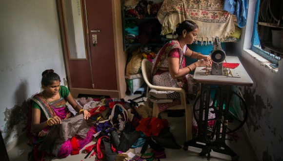 Home-based garment workers in Ahmedabad, India