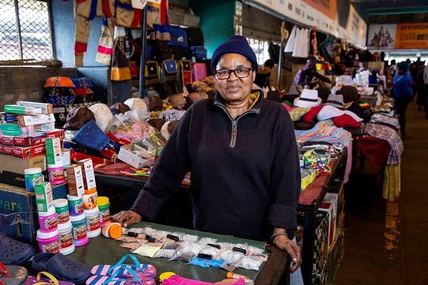 Beauty Mgiqizane has been a vendor in Durban, South Africa for decades. Photo Jonathan Torgovnik