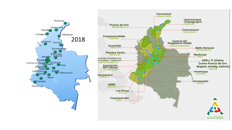 Colombia municipalities where waste pickers organizations are providing recycling public services