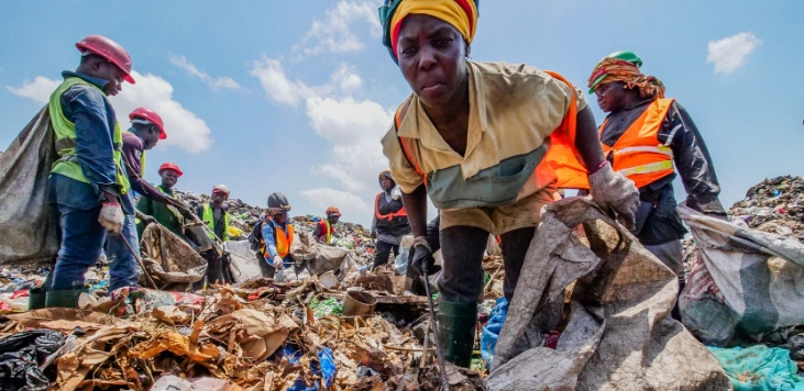 Workers at Kpone landfill in Accra 2019