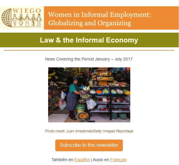 WIEGO law newsletter August 2017 cover