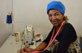 A home-based tailor in South Africa