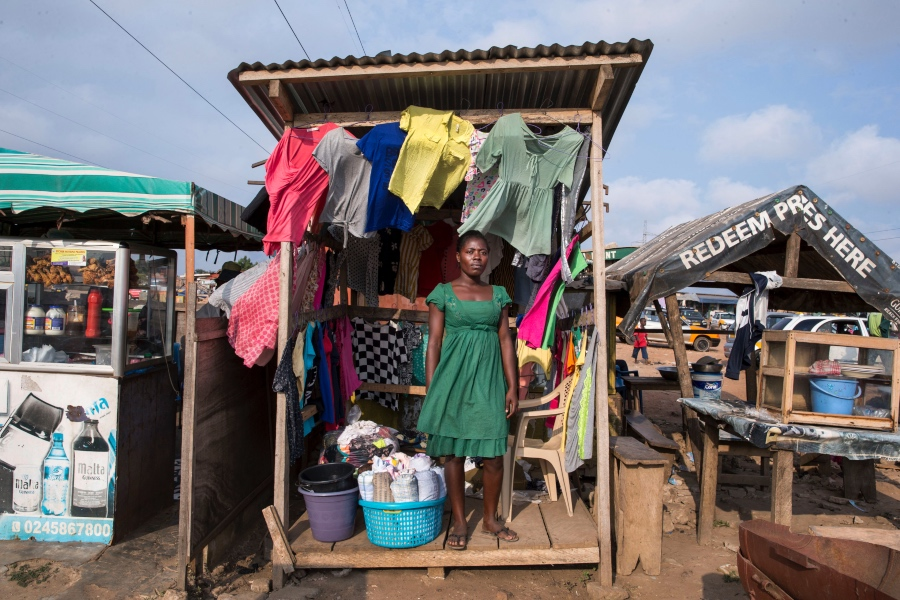 Secondhand clothing vendor Bety Anoyi in Accra, Ghana