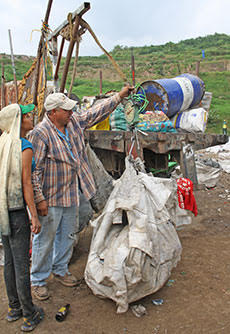 Waste pickers at a dumpsite in Guatemala