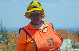 Waste picker Justina Kgoele makes her living on Johannesburg's Marie Louise landfill