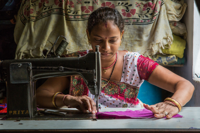 garment worker sewing