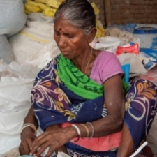 Woman waste picker in India